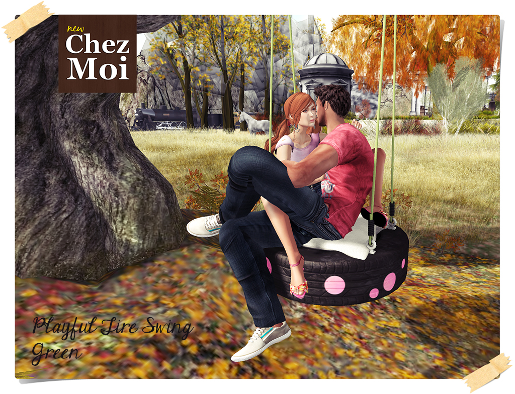 Playful Tire Swing Green Couple 2 CHEZ MOI