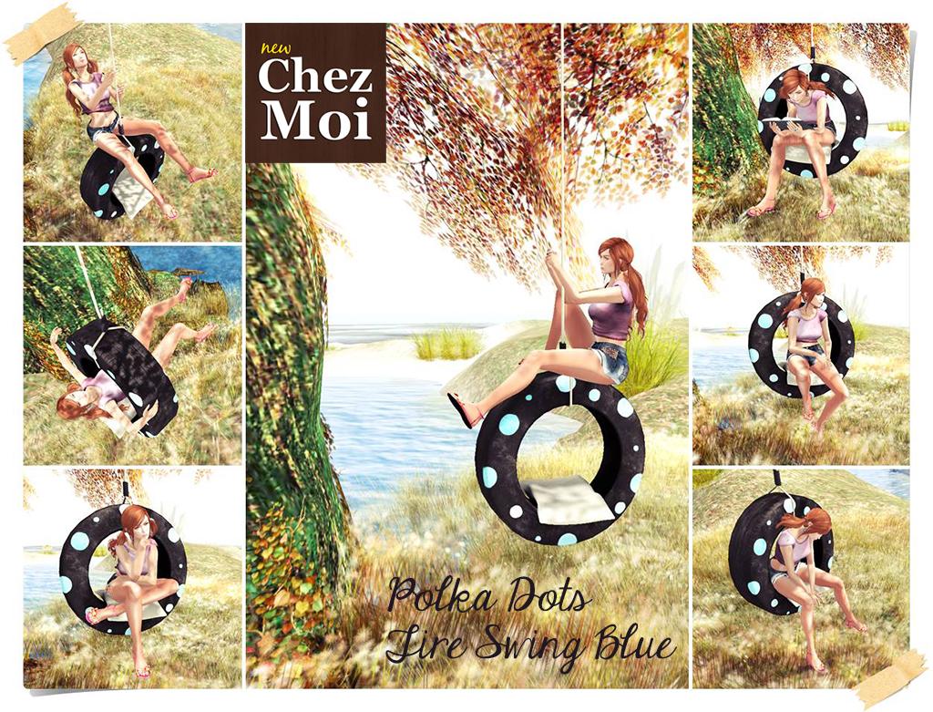 Polka Dots Tire Swing Blue CHEZ MOI