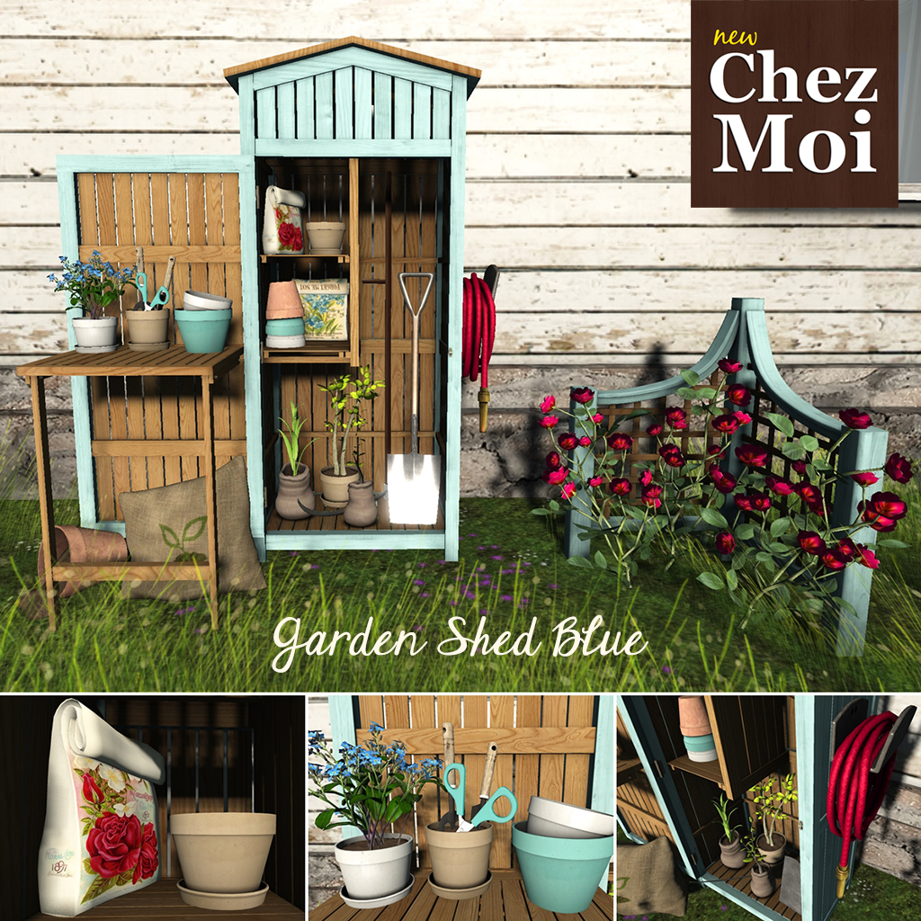 Garden Shed Blue Squared CHEZ MOI