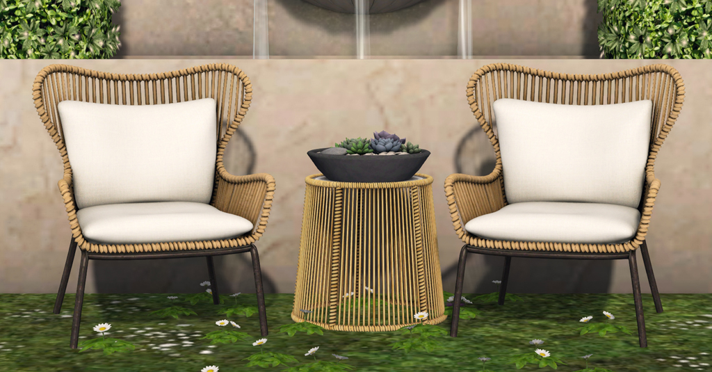 Wicker Patio Chat Set